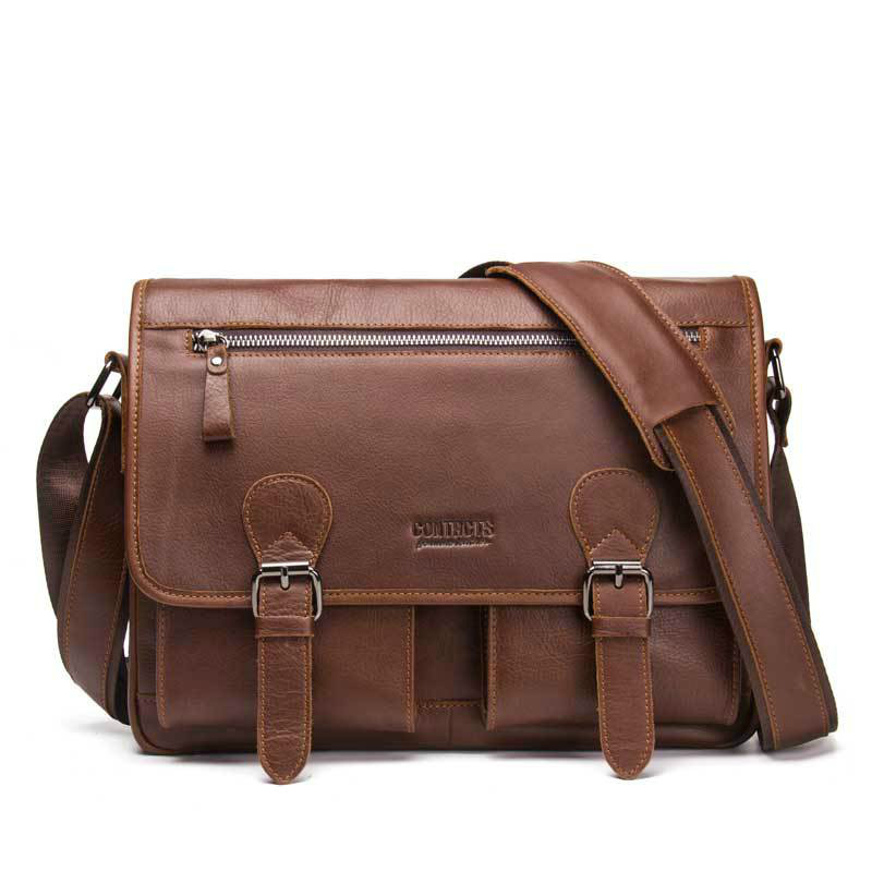 Hot Crazy Horse Leather Briefcases For Document Totes Messenger Bag Men Shoulder Bags Business Men Briefcase Laptop Computer Bag