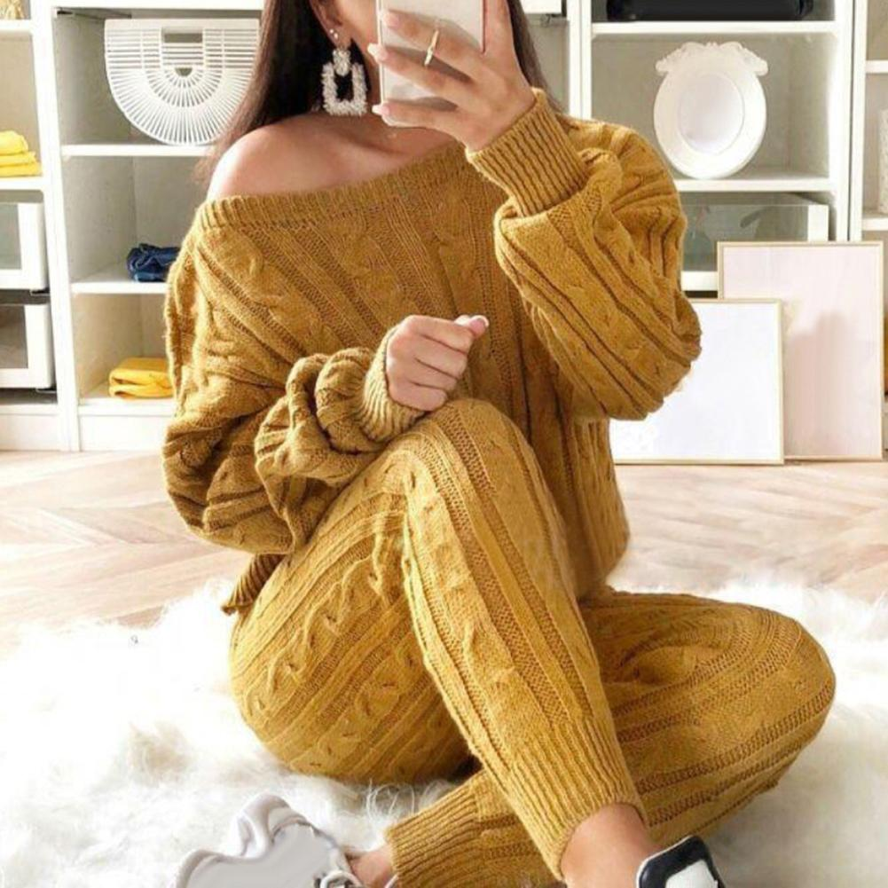 Knitted Two Piece Set Women Long Sleeve Top And Long Pants Sexy  Winter Sweater Two Piece Set