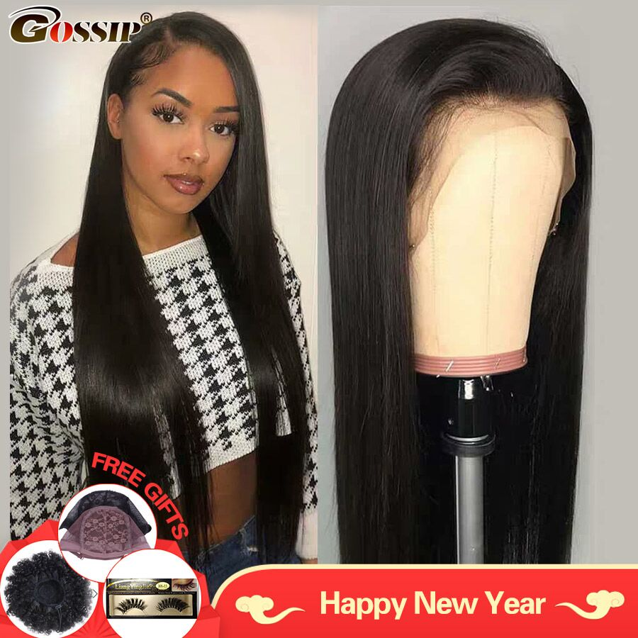 13x6 Fake Scalp Wig Brazilian Straight Lace Front Wig Pre Plucked Gossip Remy Hair Lace Front Human Hair Wig For Black Women