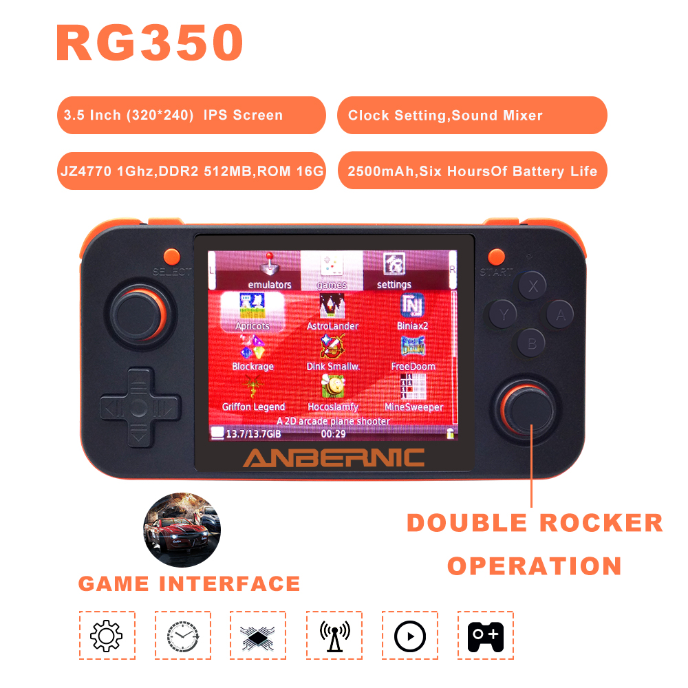2019 ANBERNIC New Retro Game 350 Video Game Handheld game console MINI 64 Bit 3.5 inch HD IPS Screen RAM 16G Game Player RG 350