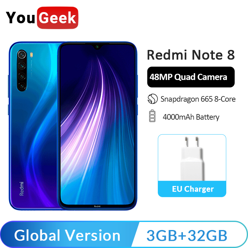 Globale Version <font><b>Xiaomi</b></font> <font><b>Redmi</b></font> Hinweis 8 3GB RAM <font><b>32GB</b></font> ROM 48MP Quad Hinten Kameras Handy Snapdragon 665 octa Core 6,3