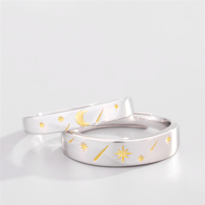Sole Memory Sun Moon Star 925 Sterling Silver Valentine's Day Gift Female Resizable Opening Romantic Couple Rings SRI520