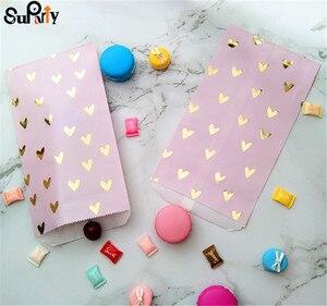 Image 5 - 100 pçs blush rosa papel deleite sacos folha de ouro coração festa presente doces sacos cor violeta para aniversário chá de bebê casamento