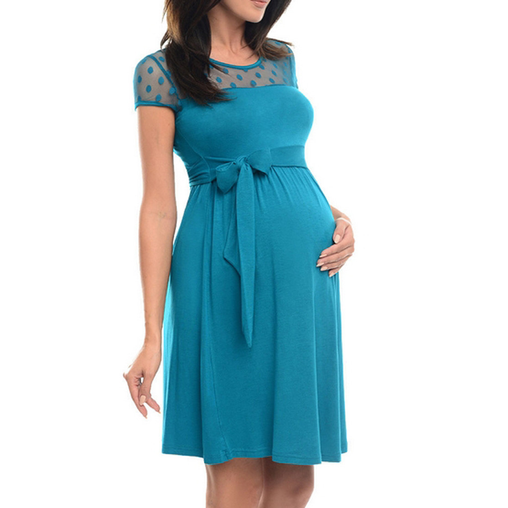 Sexy Maternity Dress Pregnant Lace O-Neck Pure Color Lace-up Short Sleeve Dress Pregnant Clothes Dress Maternity Maternidad