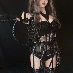 Image 1 - Haut Bustier pour femmes, costume japonais, col licou, hauts de cuisse, Costumes Sexy Cosplay, Corset, dentelle, Lingerie, ensemble de sous vêtements