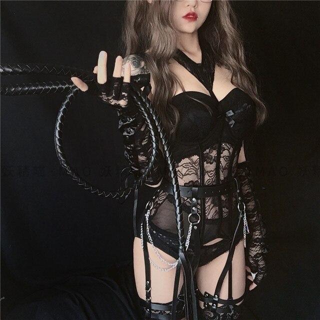 Haut Bustier pour femmes, costume japonais, col licou, hauts de cuisse, Costumes Sexy Cosplay, Corset, dentelle, Lingerie, ensemble de sous vêtements