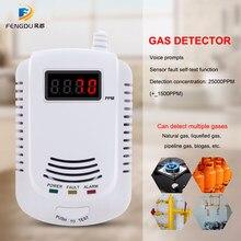 Détecteur de gaz Combustible enfichable autonome, capteur d'alarme de fuite de gaz naturel gpl charbon naturel, alarme vocale