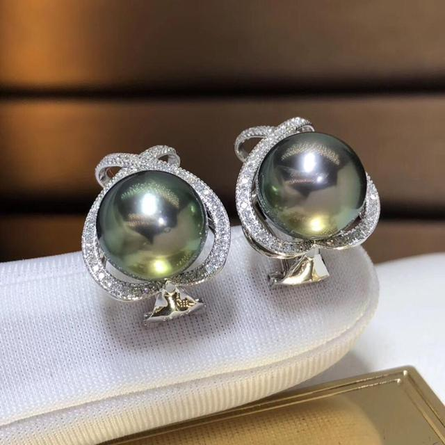 Fine Jewelry Pure 18 K Rose Gold 10-11mm Natural 10mm Tahiti Round Pearl Earrings for Women Fine Pearl Earrings 4