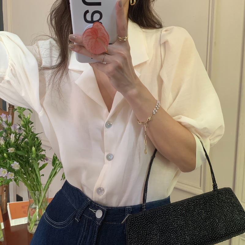 H16921275f0c5410096b8e9155c765bedf - Summer Notched Collar Short Puff Sleeves Minimalist Buttons Blouse