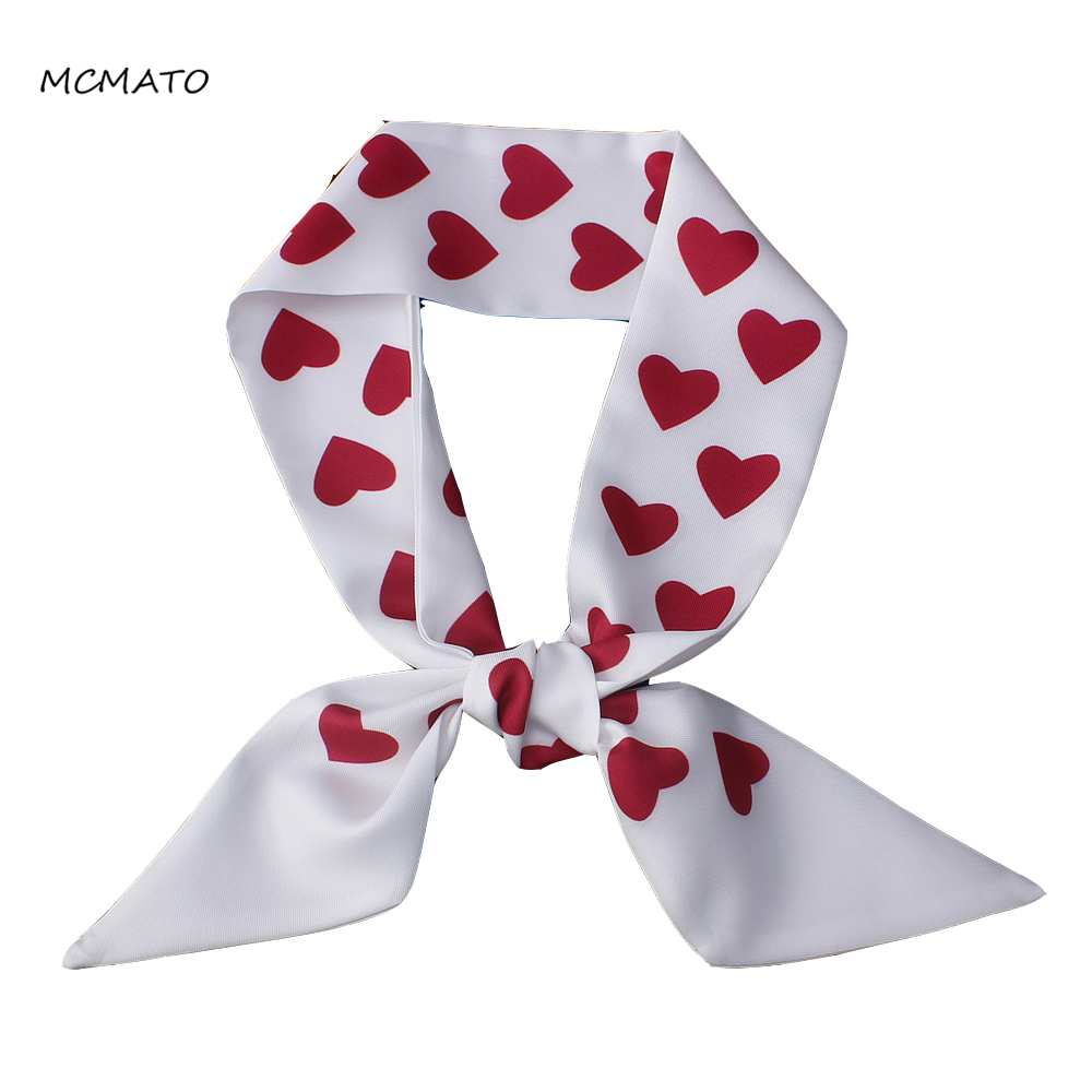 New Love-Heart Print Woman Silk Scarf 100cm*6cm Long Small Twilly Scarves Bag Ribbons Kerchief Head Scarf Red White Ladies Tie