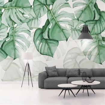 Milofi custom wall wallpaper mural hand-painted tortoiseshell tropical plant background wall paper mural hand painted tropical rainforest plantain wall custom high end mural factory wholesale wallpaper mural photo wall