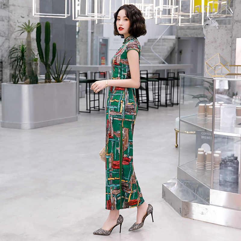 Yeşil artı boyutu 5XL kadın zarif elbiseler çin Cheongsam uzun saten elbise kadınlar günlük elbiseler çiçek çin elbiseler Qipao