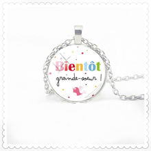 French Letter Painting Necklace 25mm Convex Dome Pendant Fashion Glamour Men and Women Necklace