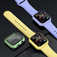 Glas + Fall + Strap Für Apple Uhr band 44mm 40mm 38mm 42mm 44mm Silikon sport smartwatch armband iWatch serie 3 4 5 6 se band