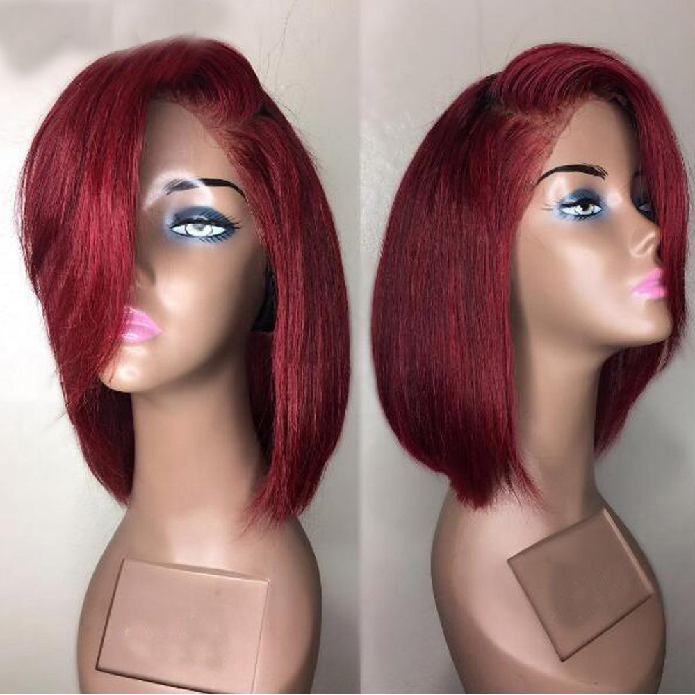 Eversilky Deep Part 99J Red Burgundy Human Hair Straight Short Cut Bob 13X4 Lace Front Wig Peruvian Remy Pre Plucked For Women