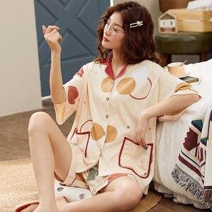 Image 3 - BZEL Fashion Womens Sleepwear Set 100% Cotton Underwear Cute Ladies Pajamas Short Sleeve Shorts Nightwear Home Cloth For Female