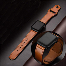 Leather ring strap for apple 38/10/42/44 mm iwatch4/ 3/2/1 adjustable replacement wrist