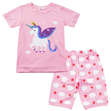2020 Children Short Sleeve Pajamas Set Casual Baby Girl Cart