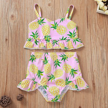 Zomer prinses badpak voor baby Ruche Vest Sling Franje Badpak + Shorts Outfits Ananas Print Badmode Outfits L1209(China)