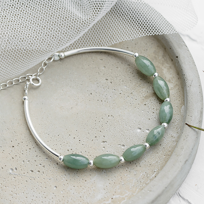 Adjustable 925 Sterling Silver Green Oval Bead Charm Bracelet For Women Fashion Christmas Party Jewelry sl247