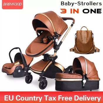 Brand Newborn Pram Babyfond 3 in 1 Luxury Baby Stroller PU Leather Two-way Push 360 Rotate Baby Car EU Safety Car Seat Trolley image