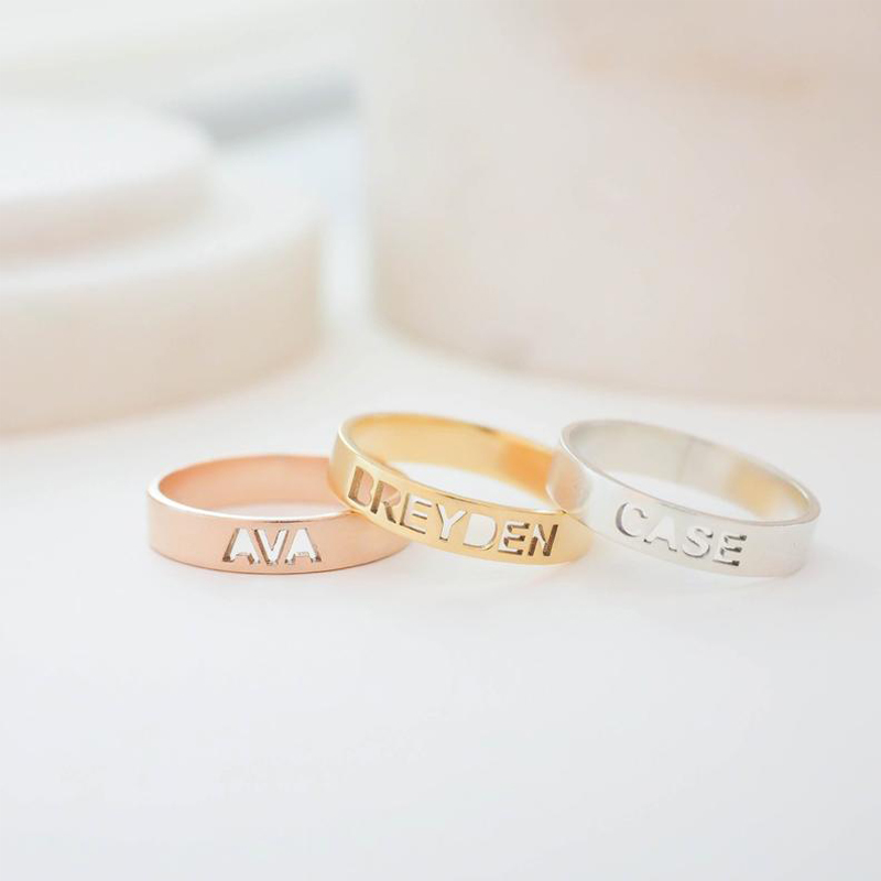 Custom Any Name Ring Gole Hollow Letter Silver Gold Stainless Steel Personalized Name Jewelry For Women Best Friends Gift BFF