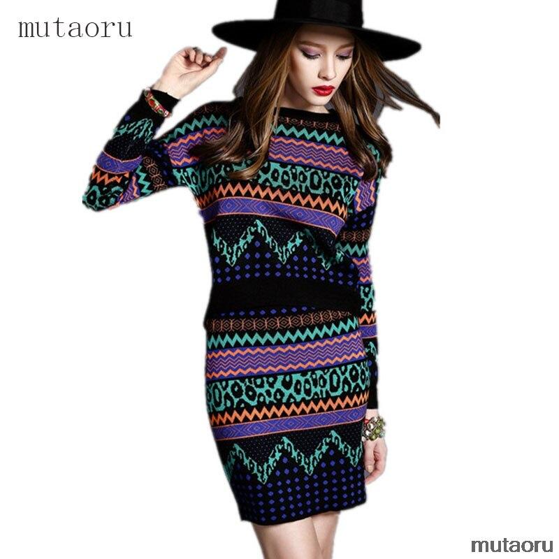 Orgreeter Autumn Winter New 2019 Women Geometric Print Sweater Tops and Mini Skirt Sets Contrast Color Patterns Knitting Set thumbnail