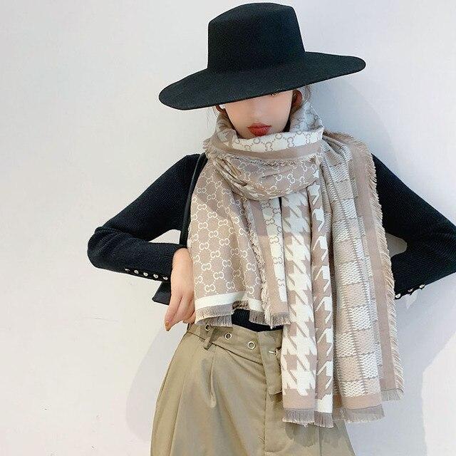 2019 Nieuwe Collectie Vrouwen Houndstooth Cashmere Achtige Sjaals Dubbele Kanten Vrouwelijke Winter Dikke Warme Wollen Deken Sjaal Wraps