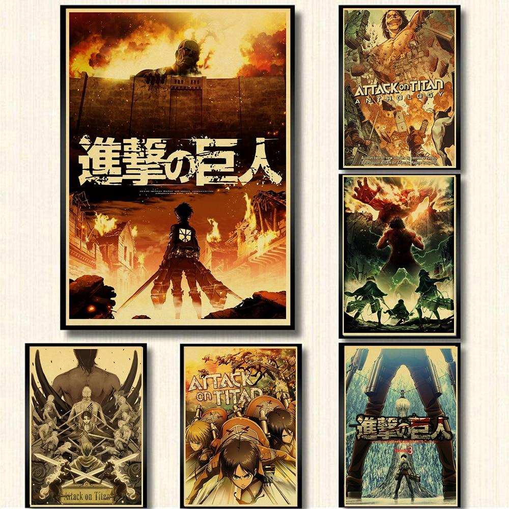 Плакаты из японского аниме «атака на Титанов», крафт-бумага для печати, четкое изображение комнаты, бара, домашнее искусство, Настенная Накл...