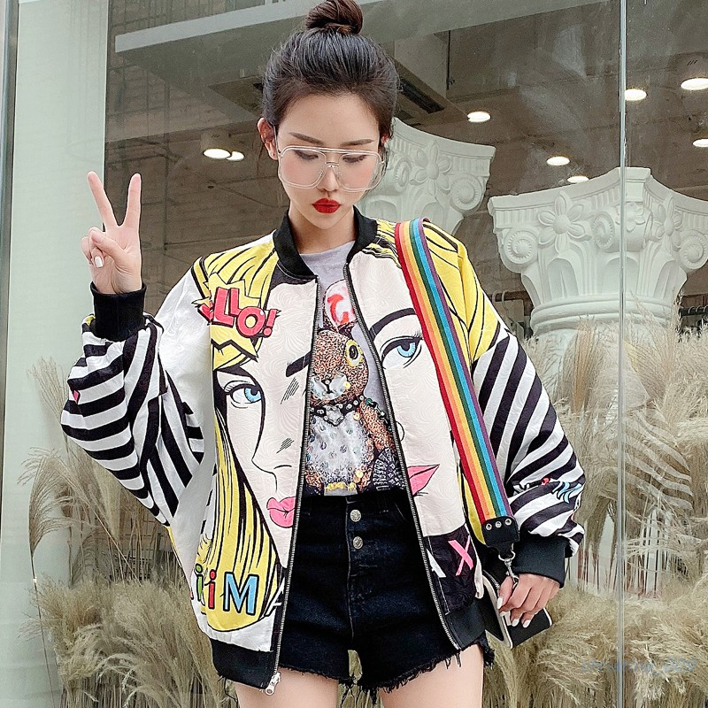 European Station 2020 Spring New Wide Loose Shirt Coat Female Large Size Was Thin Cartoon Printed Bf Baseball Uniform