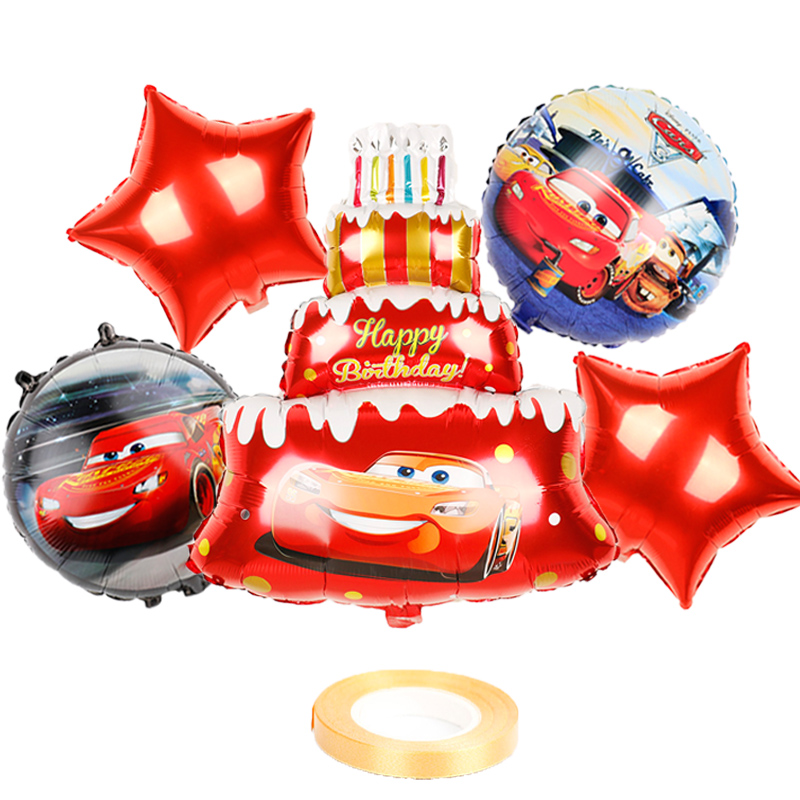 Balões laminados de alumínio para chá de bebê, 6 peças, balões redondos de decoração de carro mcqueen, para crianças, 18 polegadas brinquedos de brinquedo