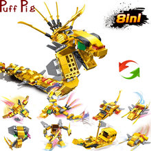 8in1 724PCS Dragons Ninja Snake Gold Mech Building Block Toys Legoingly city Creator Action Figures Bricks Set For Children gift(China)