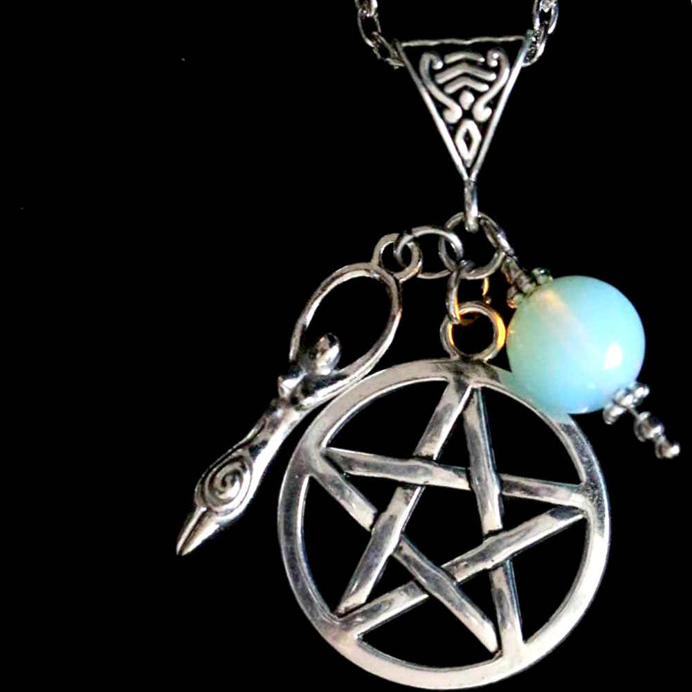 Kalung Wanita Pentagram Spiral Dewi Kesuburan Liontin Kalung Rantai Perhiasan Collier Collares Colar Naszyjnik Wicca Gothic