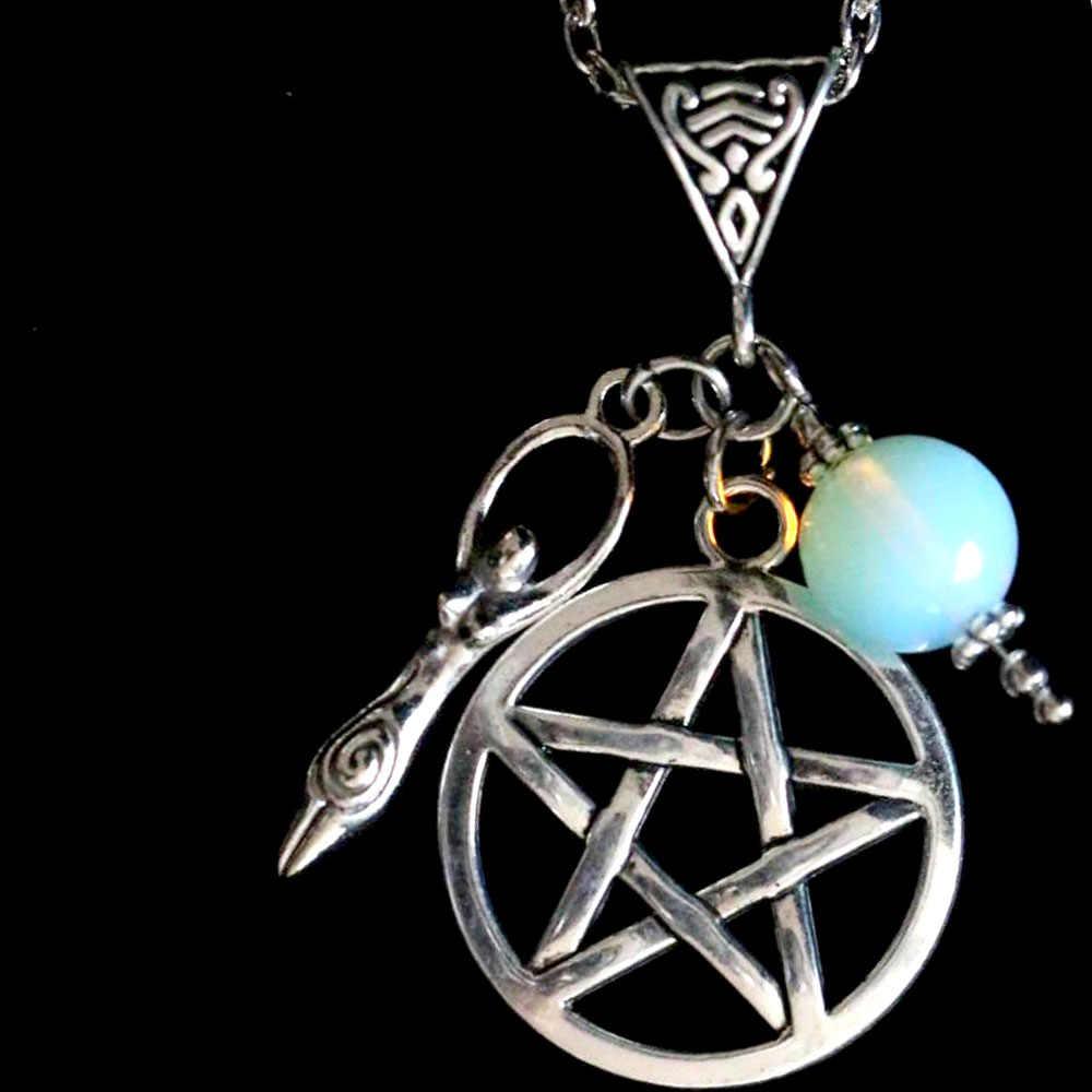 สร้อยคอผู้หญิง Pentagram เกลียว Fertility เทพธิดาสร้อยคอจี้เครื่องประดับ Collier Collares Colar naszyjnik Wicca Gothic