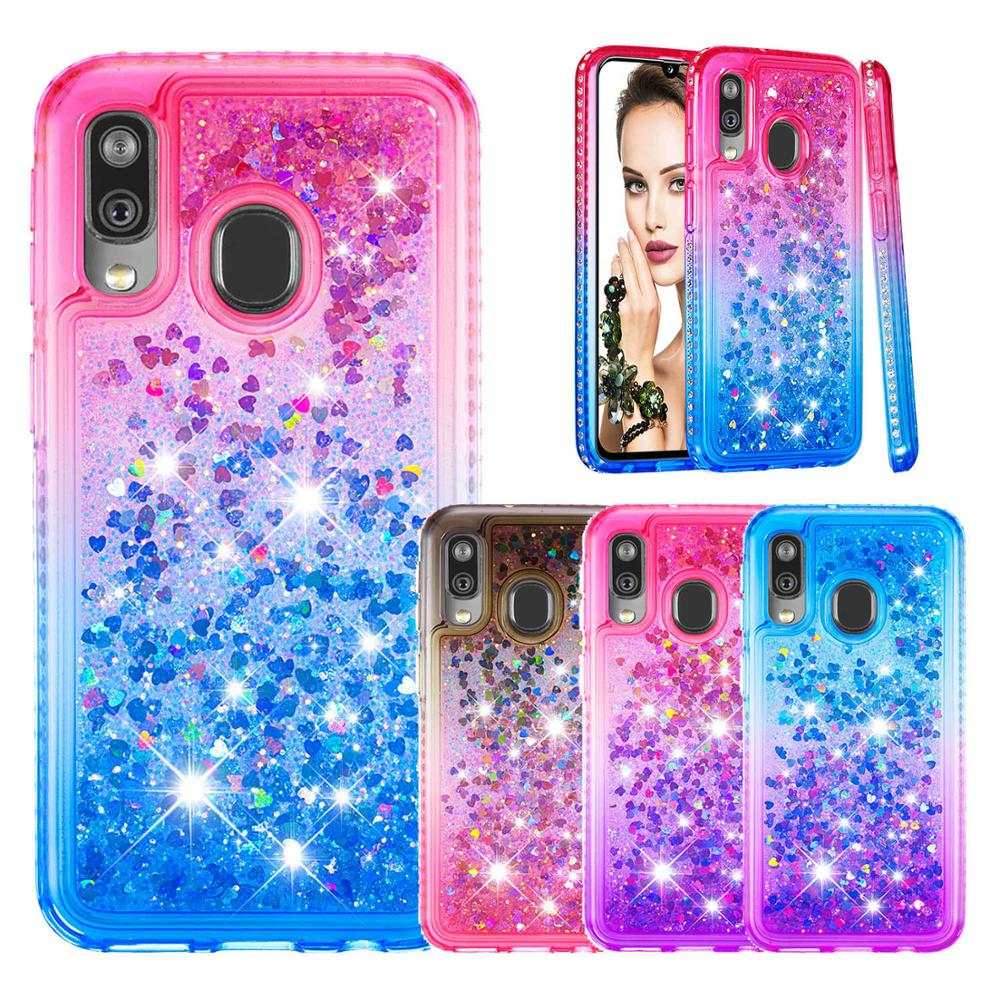 Glitter Liquid Phone Case for Samsung Galaxy A40 A60 A20e A10e Note 10 Plus Pro Note 10 M40 Bling Diamond Dynamic TPU Back Cover in Fitted Cases from Cellphones Telecommunications