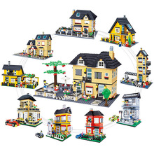 City Architecture Villa Cottage Model Beach Hut Modular Home House Village Building Blocks Compatible Brand Friends Toy Gift