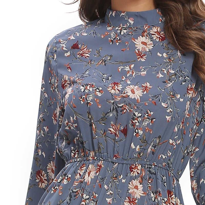 VANGULL جديد الأزهار الشيفون الأزرق فستان طاقم الرقبة طويلة الأكمام لوتس ليف مرونة عالية الخصر منتصف طول ألف خط شيك المؤنث فستان
