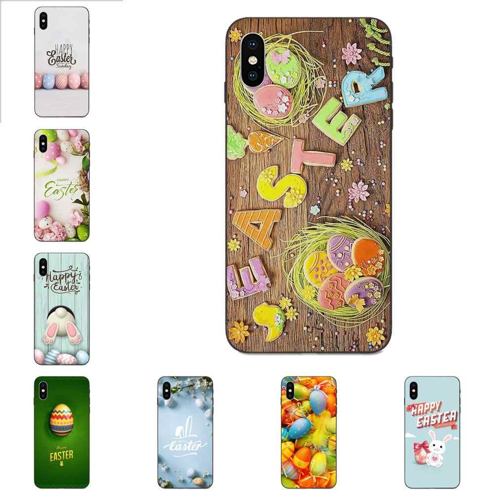 Phone Case Black Fundas Coque Cover For Apple iPhone 4 4S 5 5S SE 6 6S 7 8 Plus X XS Max XR Egg Eggshell Painted Easter