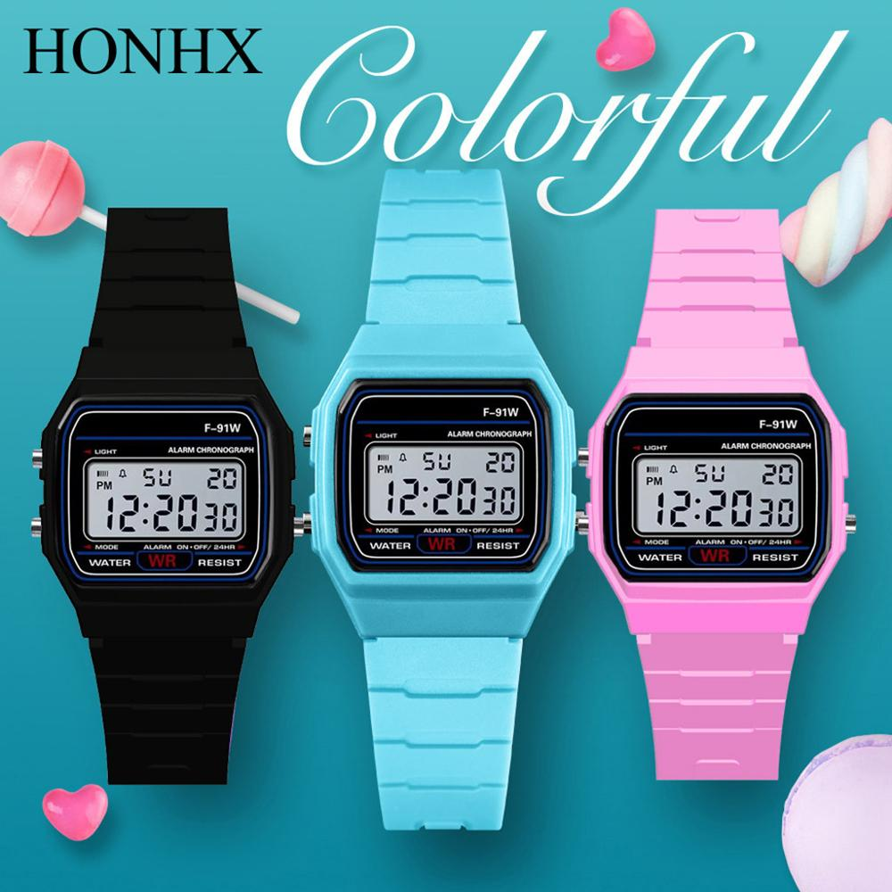 HONHX Women Watch Strap Silicone Square Digital Led Waterproof Military-Sport Electronic title=