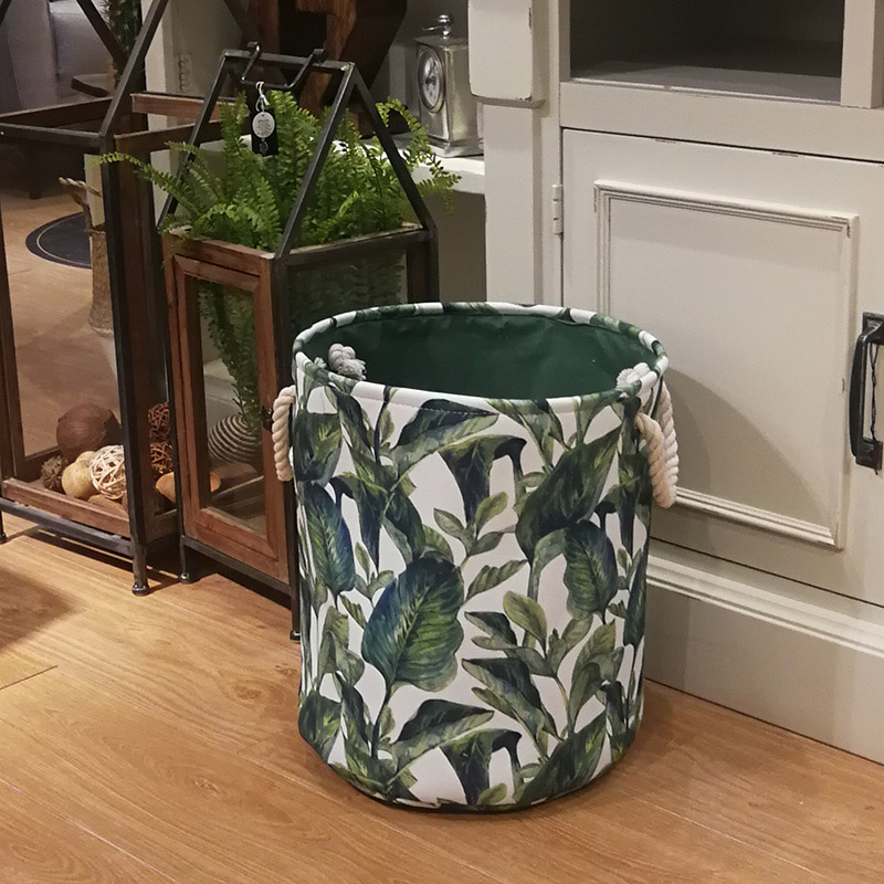 Green Leaf Canvas Fashion Laundry Basket Bag Laundry Basket Bag Large Folding Dirty Clothes Sundries Toys Storage Baskets Box
