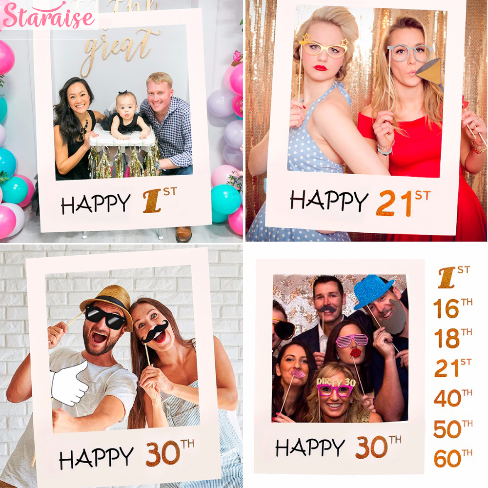 Staraise 30th 40th <font><b>50th</b></font> 60th Photo Booth Frame Happy <font><b>Birthday</b></font> Photobooth Props Baby 1st <font><b>Birthday</b></font> Party <font><b>Decoration</b></font> Photo Booth image