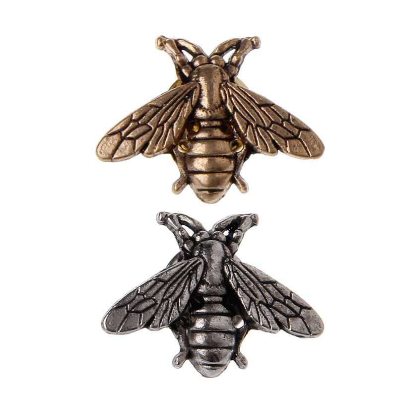 VINTAGE โลหะ Bees Pins Tiny แมลงเข็มกลัด Novelty สำหรับชุดเสื้อกั๊กชายเครื่องประดับ W2952001