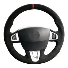 Osłona na kierownicę do samochodu czarne prawdziwa skóry zamszowe dla Renault Megane 2008-2016 Fluence (ZE) 2010-2016 Kangoo 2014-2019