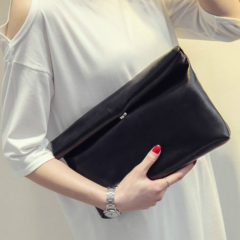 New Fashion 2019 Women PU Leather Briefcase Luxury Handbag Envelope Large Clutch Purse Bag Travel Designer Solid Black Blue Red