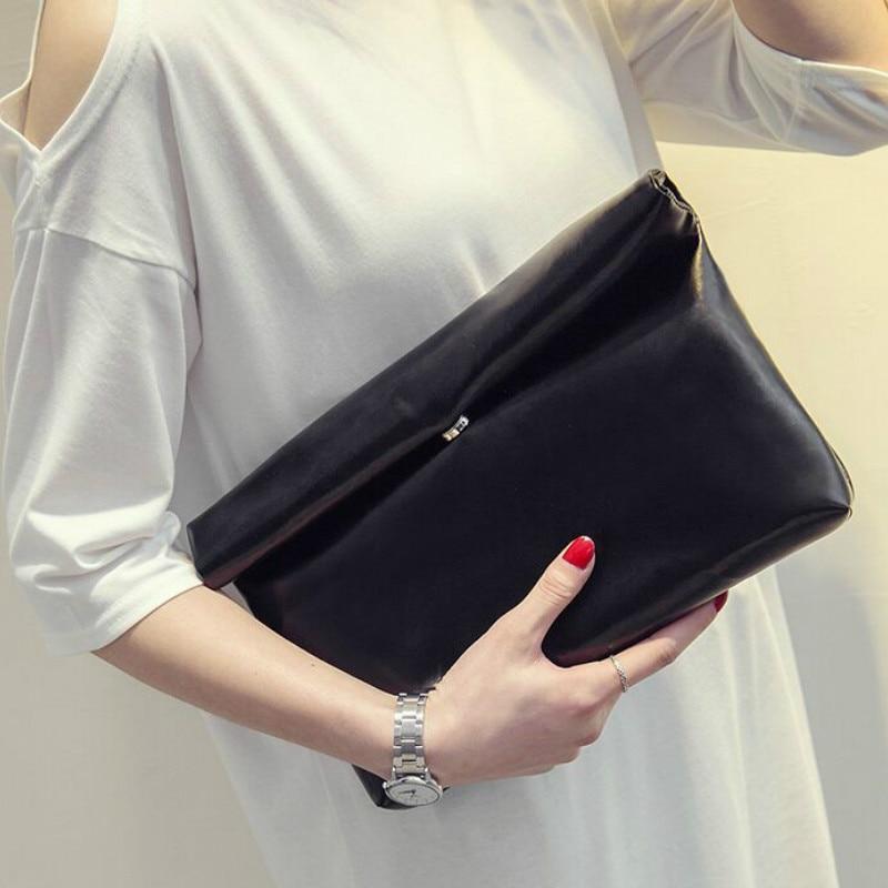 New Fashion 2019 Women PU Leather Briefcase Luxury Handbag Envelope Large Clutch Purse Bag Travel Designer Solid Black Blue Red