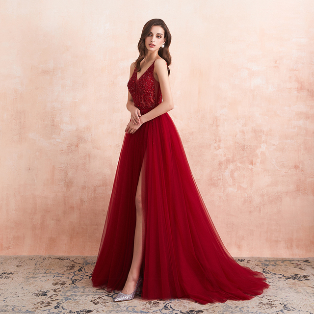 Beading Prom Dresses 2021 Long Sexy V-Neck High Split Tulle Sweep Train Sleeveless Evening Gown A-Line Backless Vestido De 3
