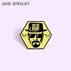 Say my name Enamel Pin TV show Bad Man Bee Black Yellow Hexagon Tag Badge Bag Clothes Lapel Pin Buckle Brooch For Women Men