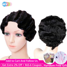 BY Short Human Hair Wigs Pixie Cut Wig Natural Hair Finger Wave Brazilian Wigs For Black Women Non Remy Hair 130% Density(China)