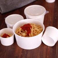 50 stücke Reinem weiß einweg papier tasse 150ml 250ml 500ml kleine pudding eis gelee salat suppe verpackung tassen mit deckel