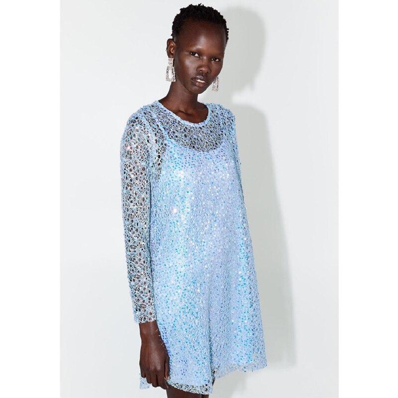 Haute qualité femmes 2019 automne nouveau bleu à manches longues Lucury Paillette perles élégant a-ligne Mini robe de soirée Sexy robes en dentelle